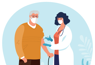An older gentleman receiving a flu vaccination from a doctor